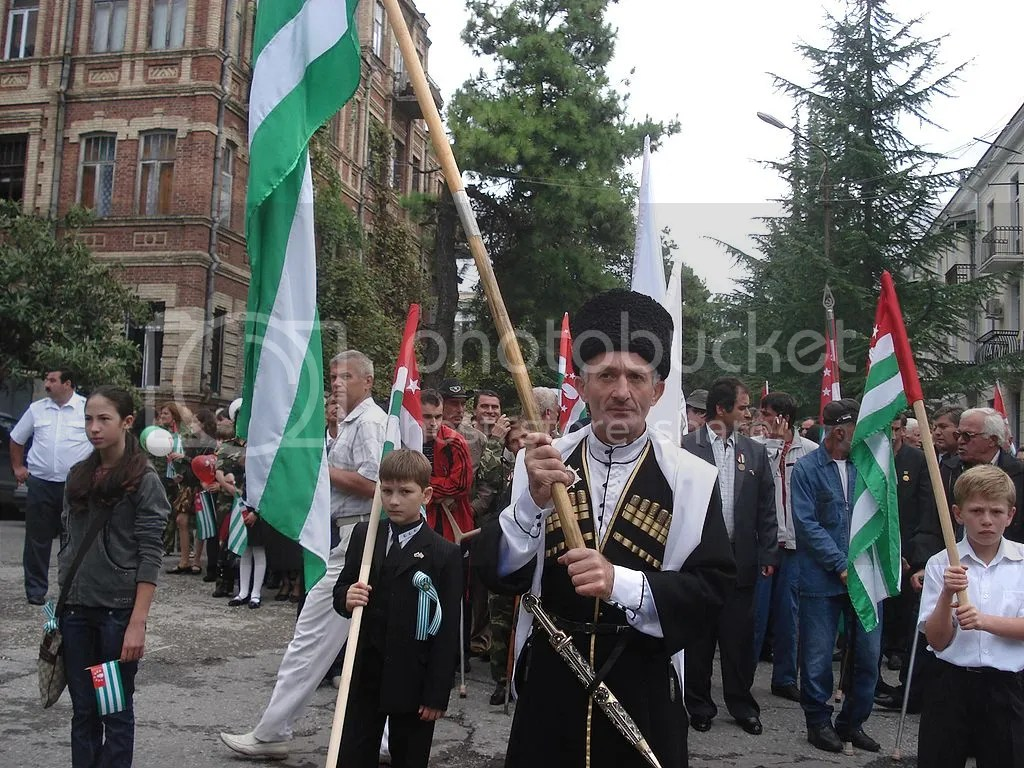 Abkhazian People Wave the Flag of Abkhazia