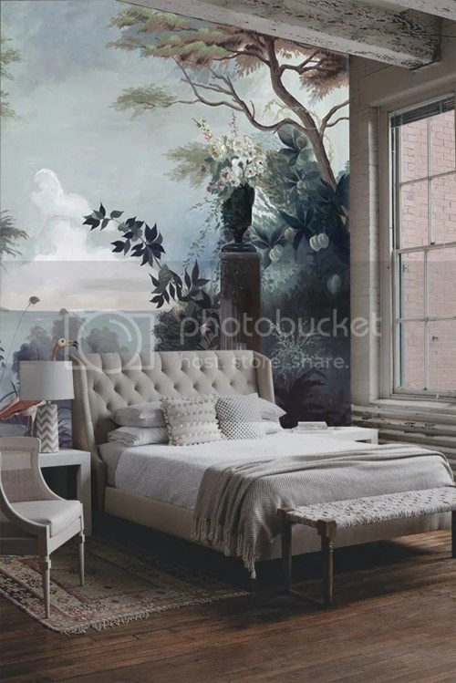 Wallpaper Murals Home Decor Interiors Neutral Bedroom with Hardwood Floors