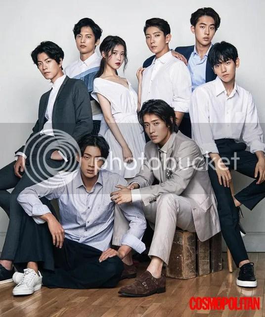 Lee Jun Ki, IU, Kang Haneul, Nam Joo Hyuk, Hong Jong Hyun, Ji Soo, Yoon Sun Woo y Baekhyun para Cosmopolitan, agosto de 2016. 1