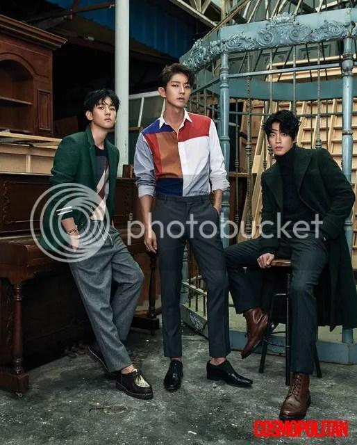 Lee Jun Ki, Hong Jong Hyun y Baekhyun para Cosmpolitan, agosto de 2016. 1