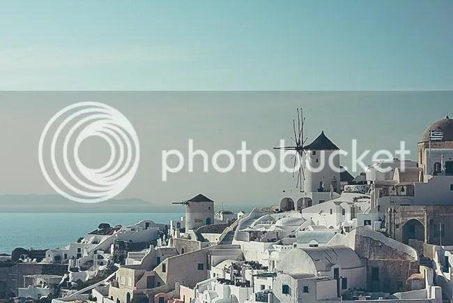 Molinos de viento en Oia, Santorini