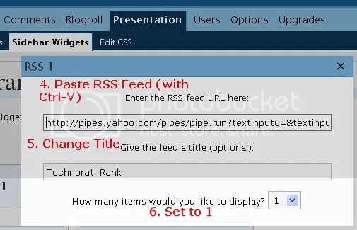 technorati rank rss feed yahoo pipes wordpress sidebar widget