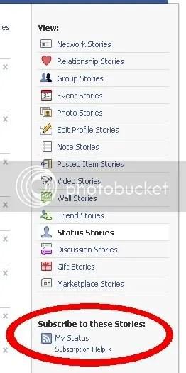 facebook rss status