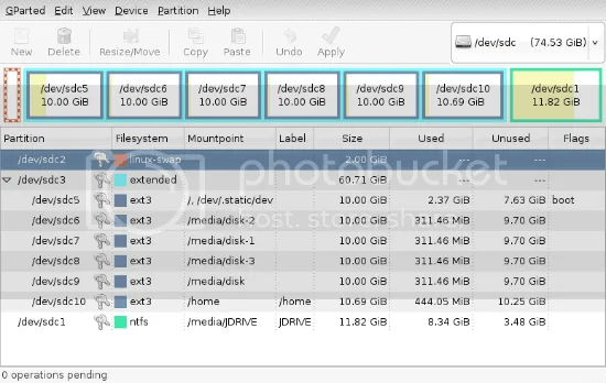 GParted Screenshot of USB Drive Partitions