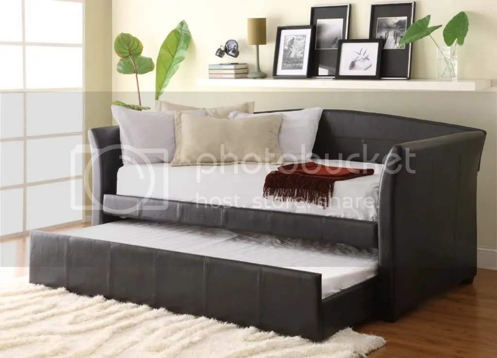 Modern Dark Brown PU Leather Daybed with Trundle  eBay