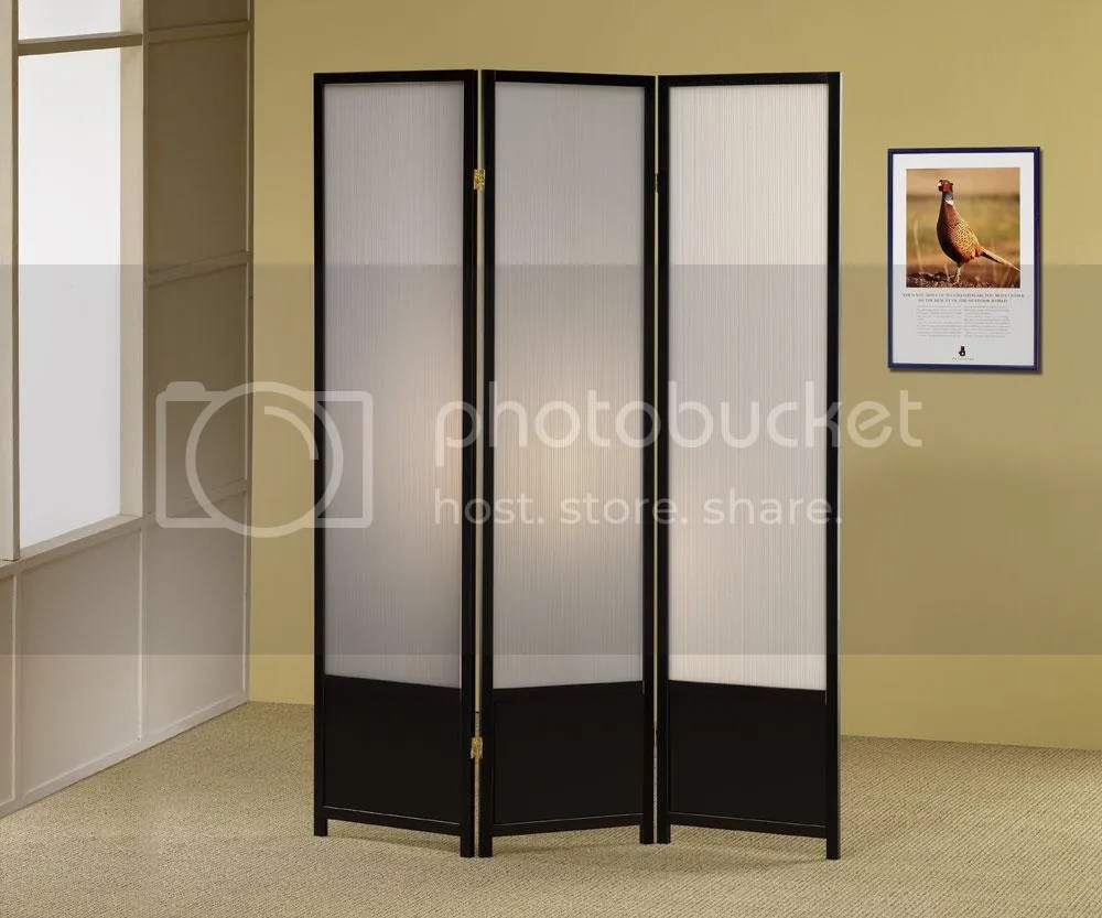 Black Finish 3 Panel Folding Screen Room Divider  eBay