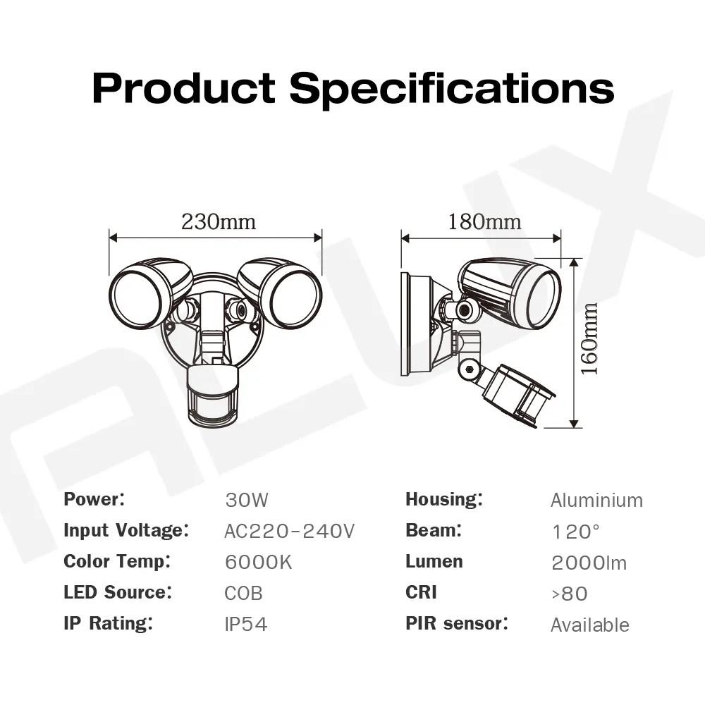 30W LED Outdoor Twin Spot Light Security Motion Sensor