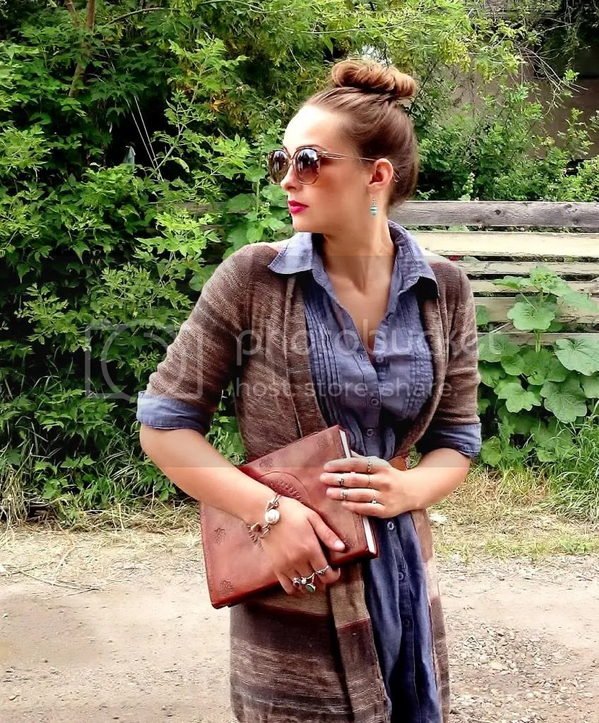 chambray shirt, striped cardigan, leather bound sketch book