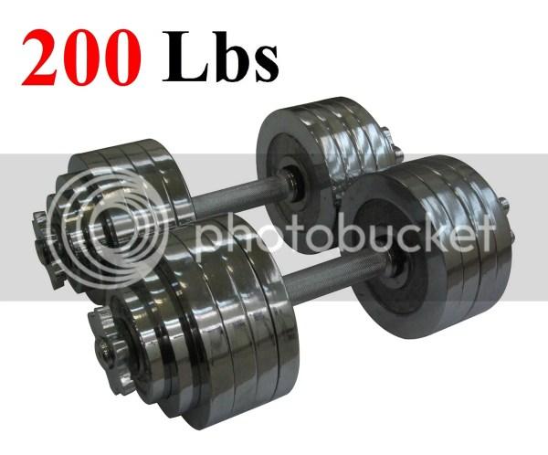 2 X 100 Lbs Set Adjustable Chrome Plated Dumbbells Total 200 Dumbbell