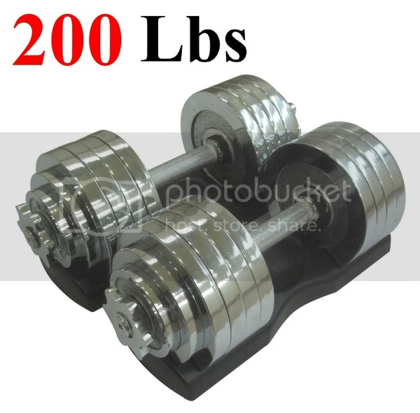 2 X 100 Lbs Set Adjustable Chrome Plated Dumbbells 200 Dumbbell With Trays