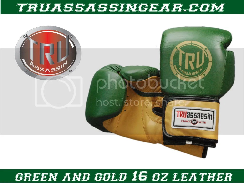 green and gold velcro, 16 oz leather