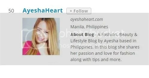 AyeshaHeart in Top 100 Asian Fashion Bloggers
