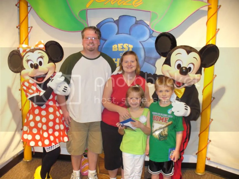 Our family with Mickey and Minnie at Disney World