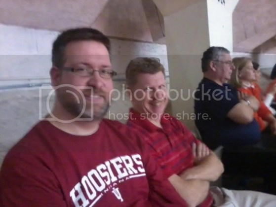 Kevin and uncle Dale wearing their IU red at the Indiana vs Illinois game in Assembly Hall in Champaign Illinois