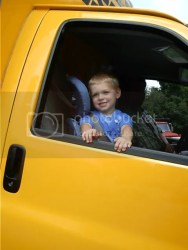 Aiden in the truck after moving to Tennessee