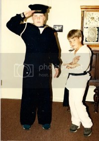 Halloween, circa 1986. If I remember correctly, Im wearing my grandfathers uniform.