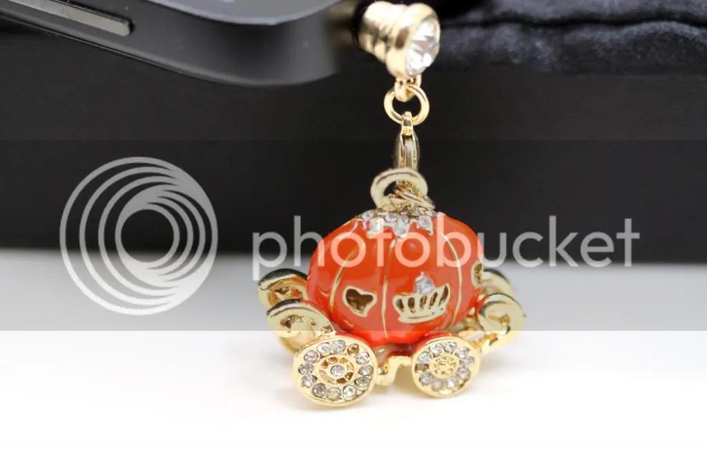 Cinderella's Magical Rhinestone Studded Orange Pumpkin Carriage Cell Phone Charm Dust Plug