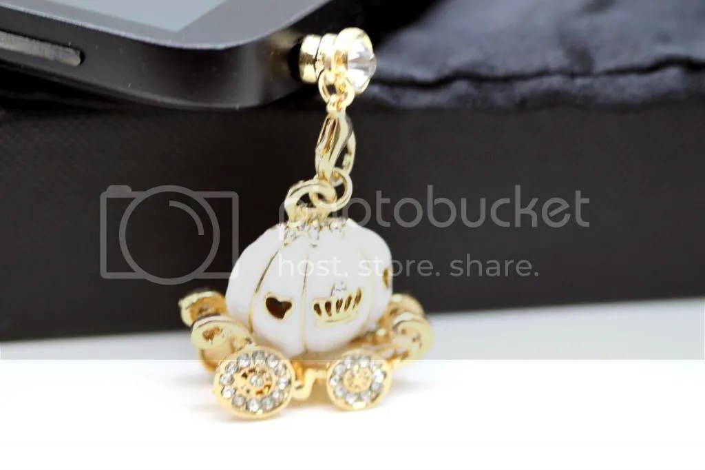 Cinderella's Magical Rhinestone Studded White Pumpkin Carriage Cell Phone Charm Dust Plug