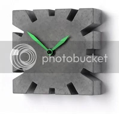 Betonuhr Betonwanduhr mit Zeigern grün dunkelgrau Rechteck