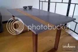 tisch betonplatte mit holzstreifen design küche esszimmer home-office arbeitszimmer