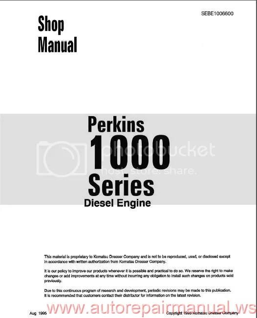 Shop Manual Komatsu Perkins 1000 Series Diesel Engine