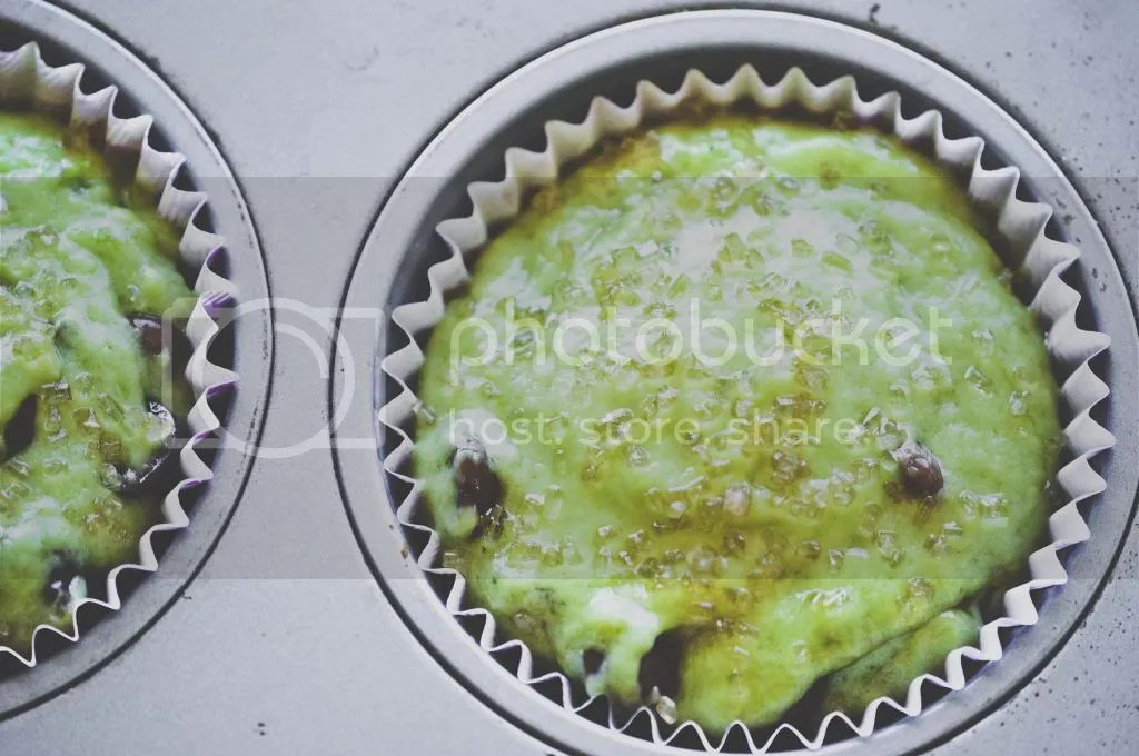 Green Tea Chocolate Chip Muffin Batter