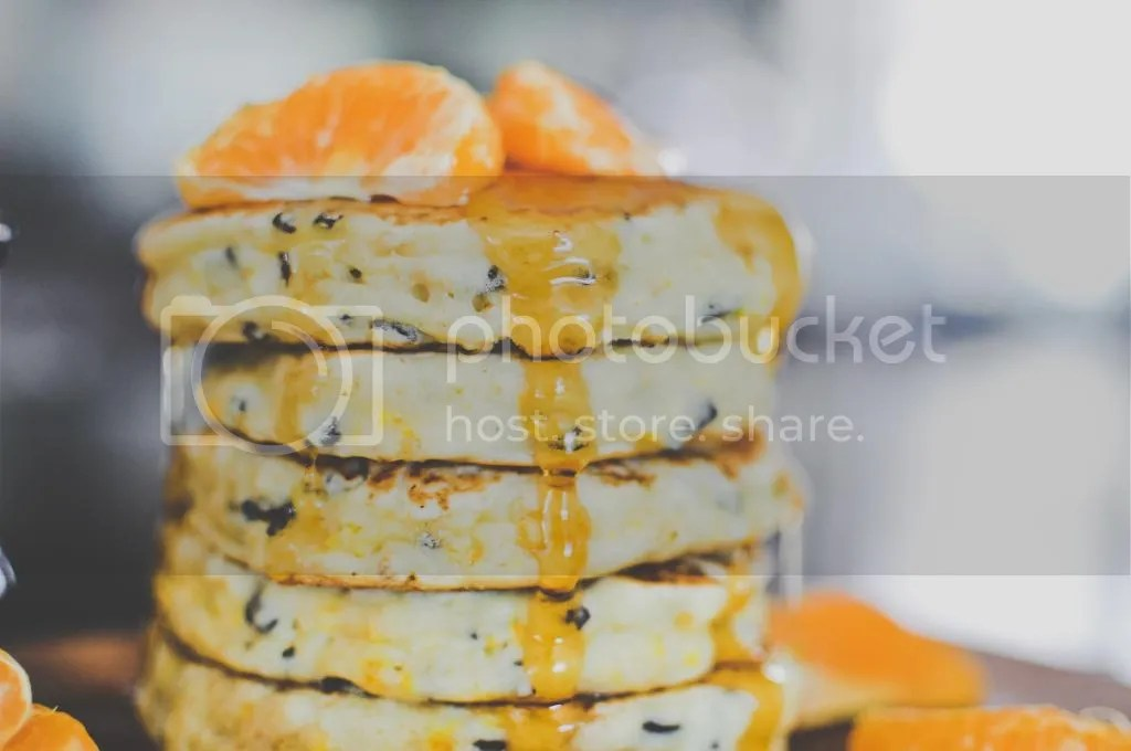 Zesty Orange-Scented Pancakes with Cacao Nibs {vegan}