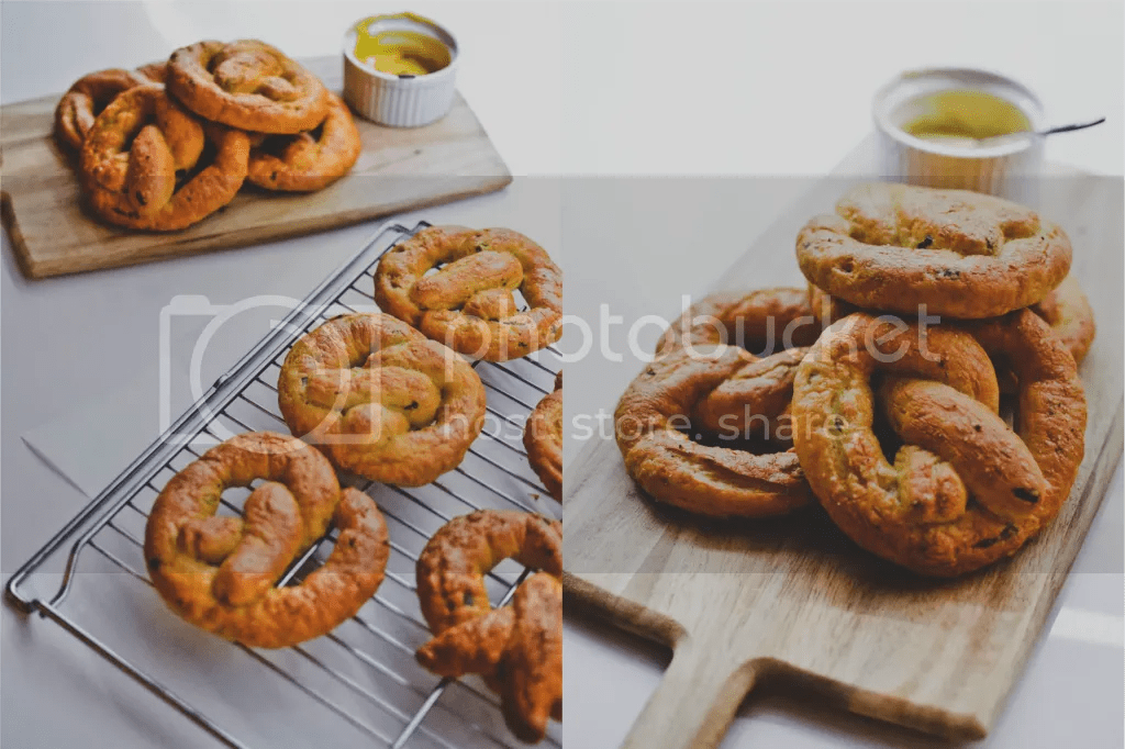Spring Onion Soft Pretzels with Black Truffle Salt