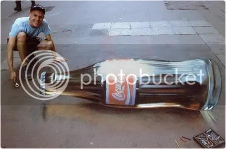 3D Chalk Art Coke Bottle