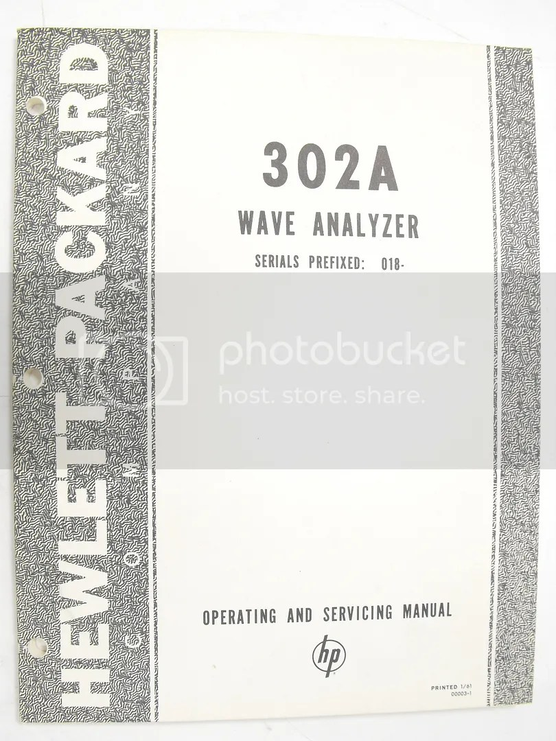 Hewlett Packard HP 302A Wave Analyzer Serials Prefixed 018