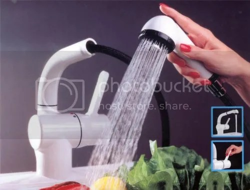white kitchen faucet commercial hood parts new aqua touch sink w pullout pull out spout details about spray 189 99