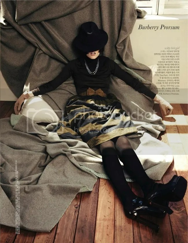 Editorial ELLE Korea Iconic Coco Coco Rocha shot by Hong Jang Burberry Prorsum