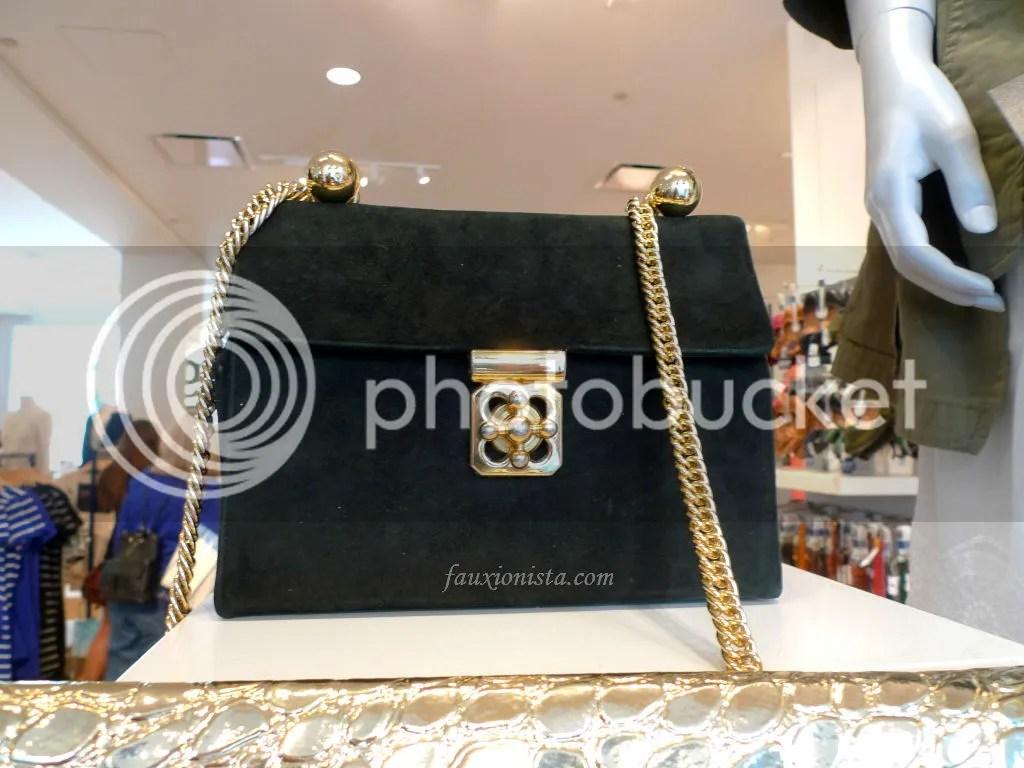 VIntage black suede bag with gold chain at Modern/Vintage Mashup