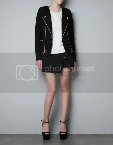 ZARA F/W 2012 Fantasy Fabric Jacket Zips Tweed Black Silver