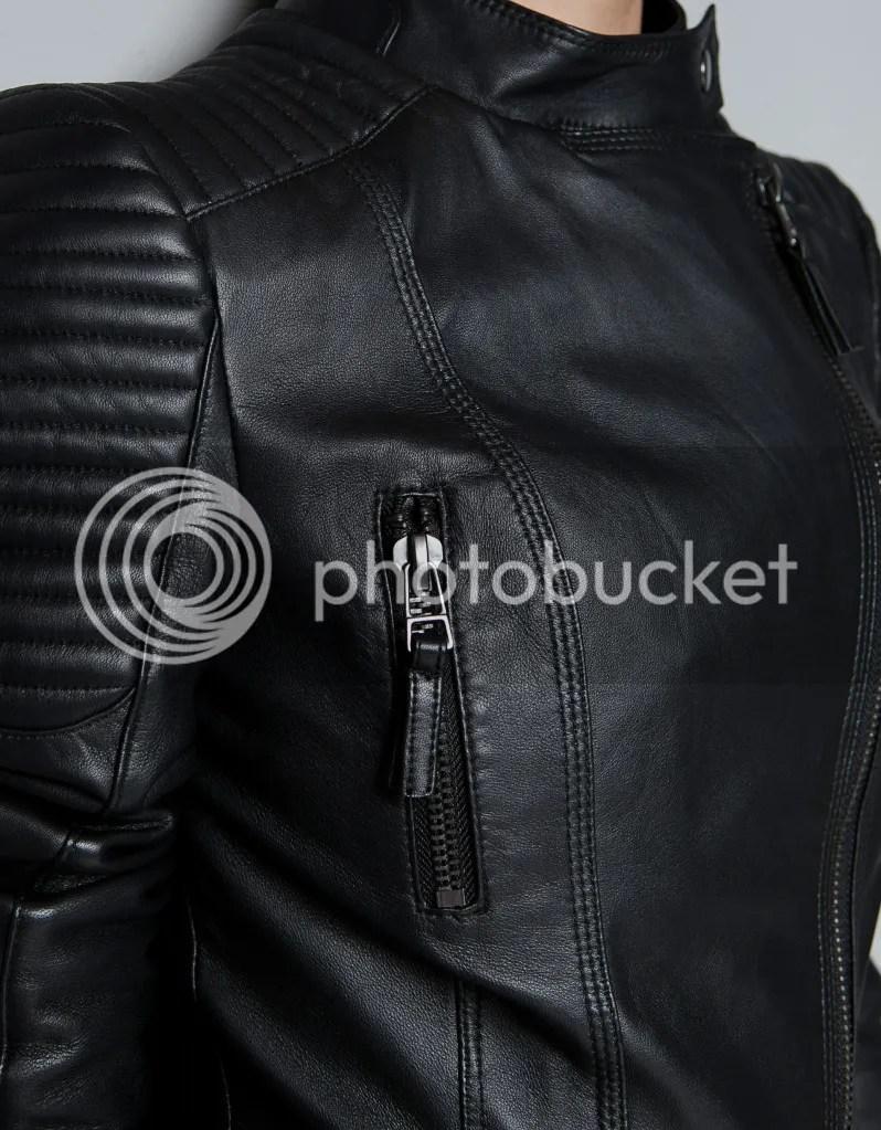 ZARA Leather Biker Jacket with Padded Shoulders Details