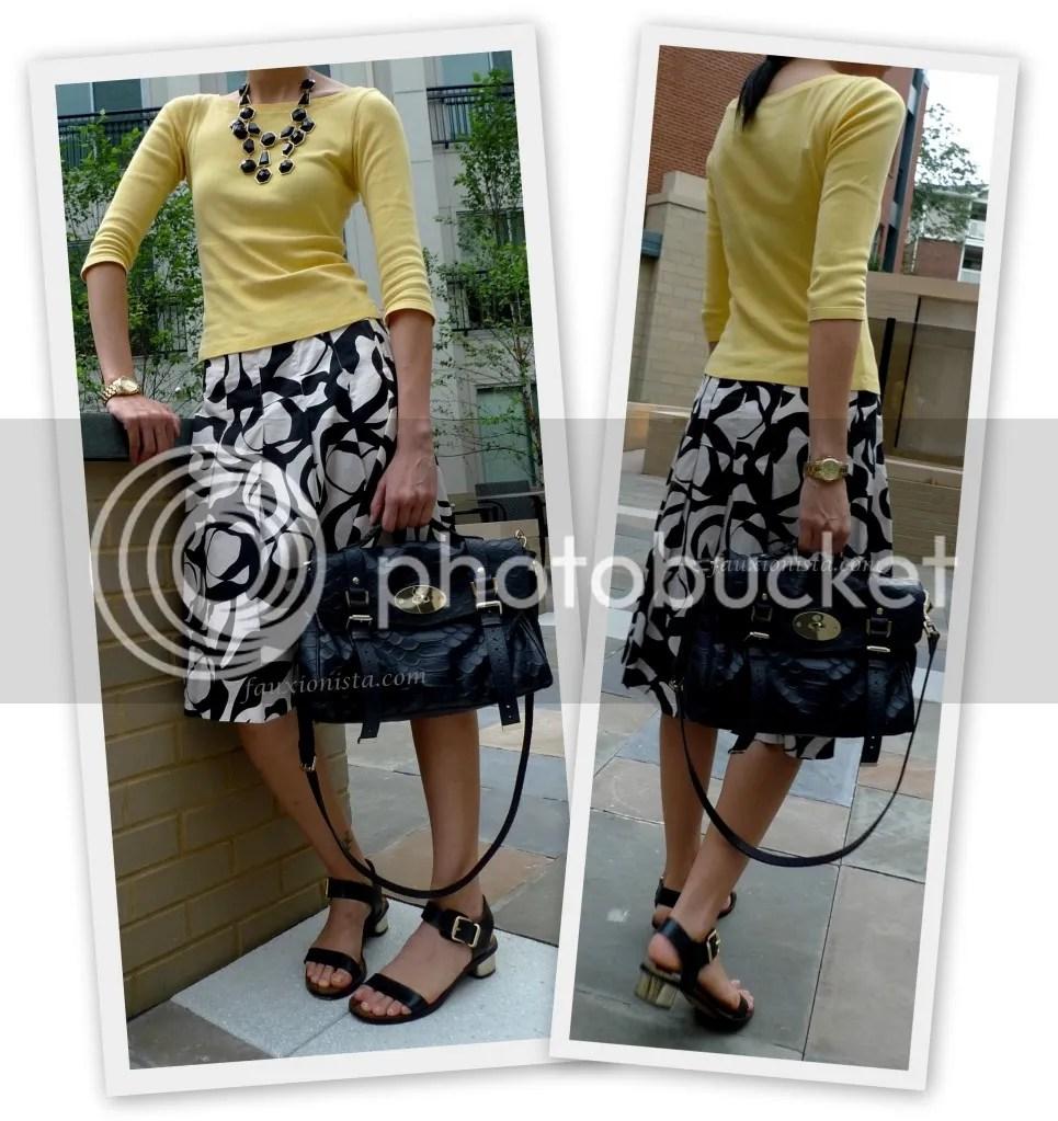 Fauxionable Outfit - Black &  Yellow, Mulberry Alexa Silky Snake Nighshade, Sam Edelman Trina