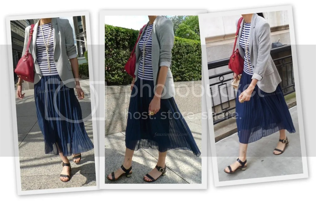 Fauxionable Outfit - Stripes & Pleats Fall Transition, blue, red Sofia Coppola Louis Vuitton