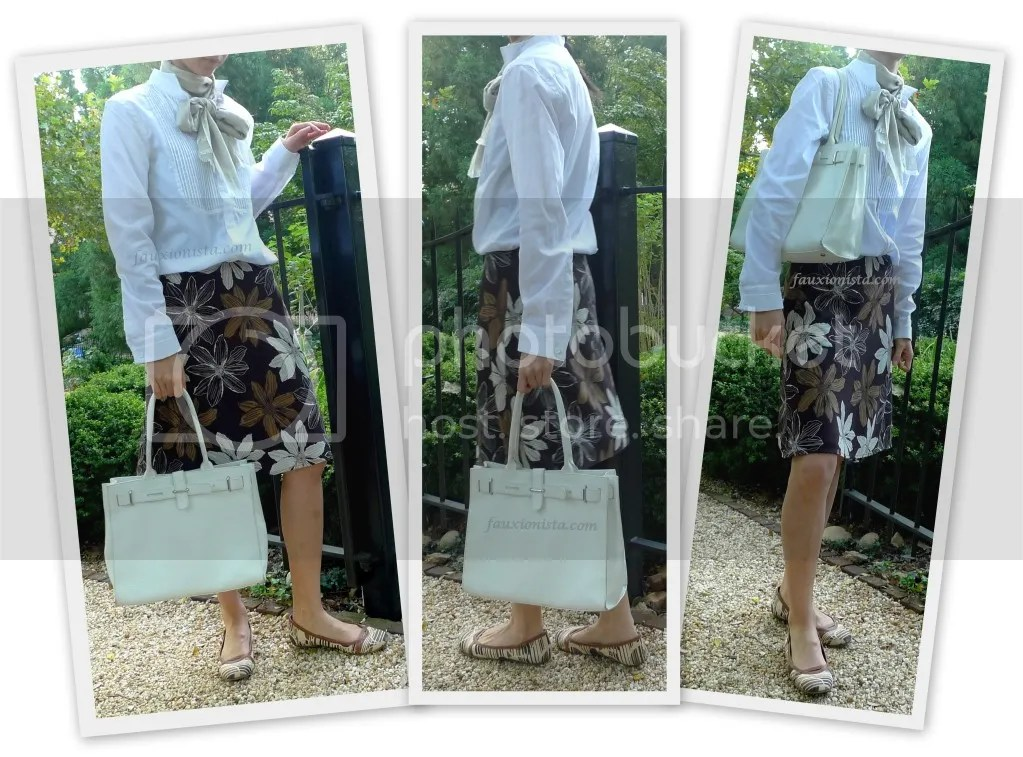 Fauxionable Outfit - Brown Print Tuxedo White Shirt Bow Scarf