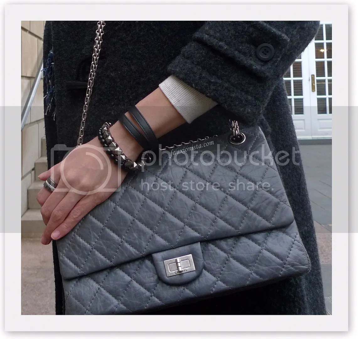 Chanel Reissue in Anniversary Gray 226 black leather bracelet, black and gray beaded bracelet, black rhodium crystal pave ring
