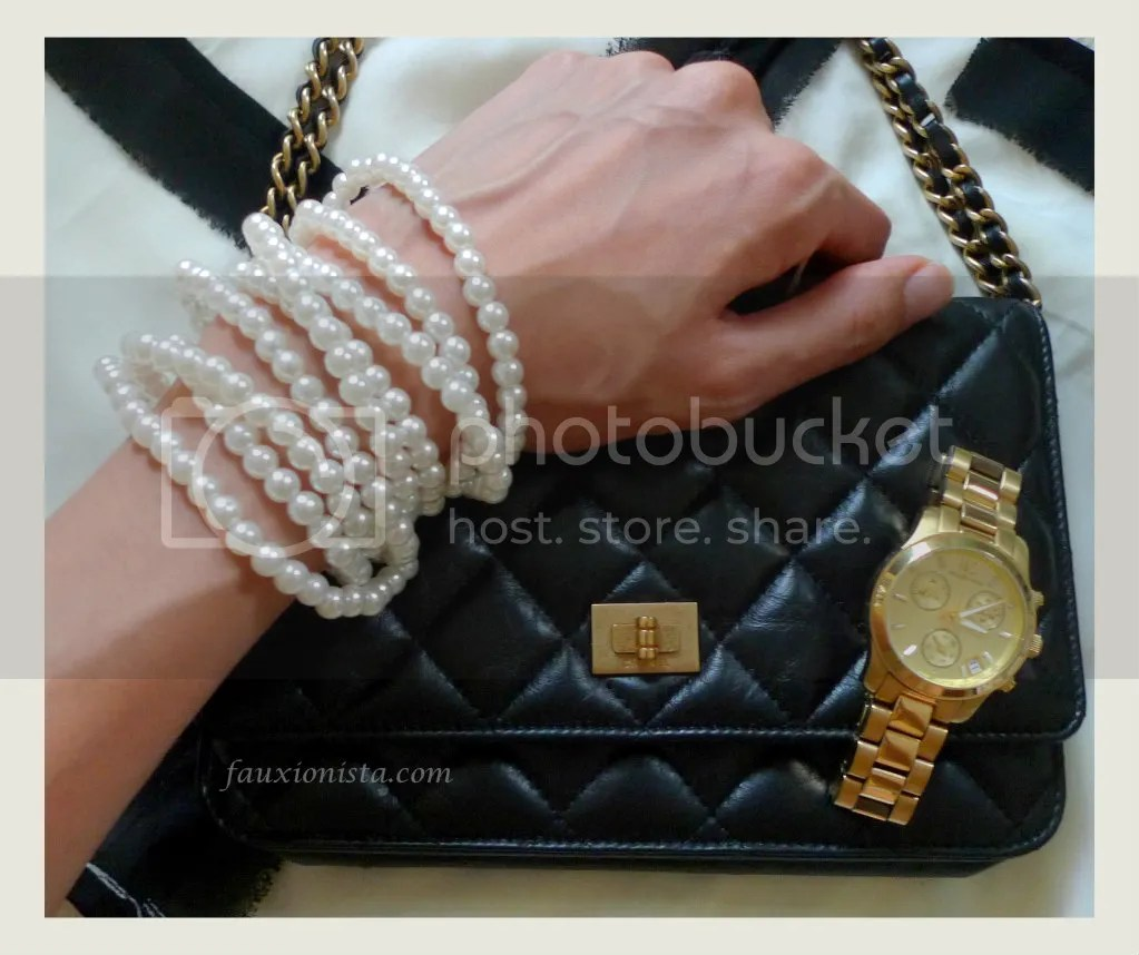 Faux Pearls, Chanel WOC & Gold Michael Kors