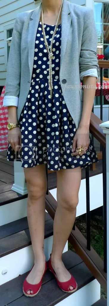 Fauxionable outfit - Polka Dot Dress Blazer Red Shoes Gold accessories