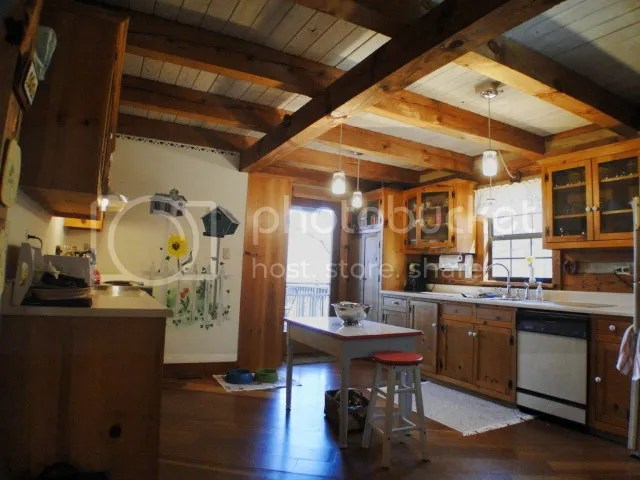 Cook up some farmhouse fixins in the large country kitchen of this home in Franklin NC, Franklin NC Log Cabins for Sale, Equestrian Estate in the Mountains