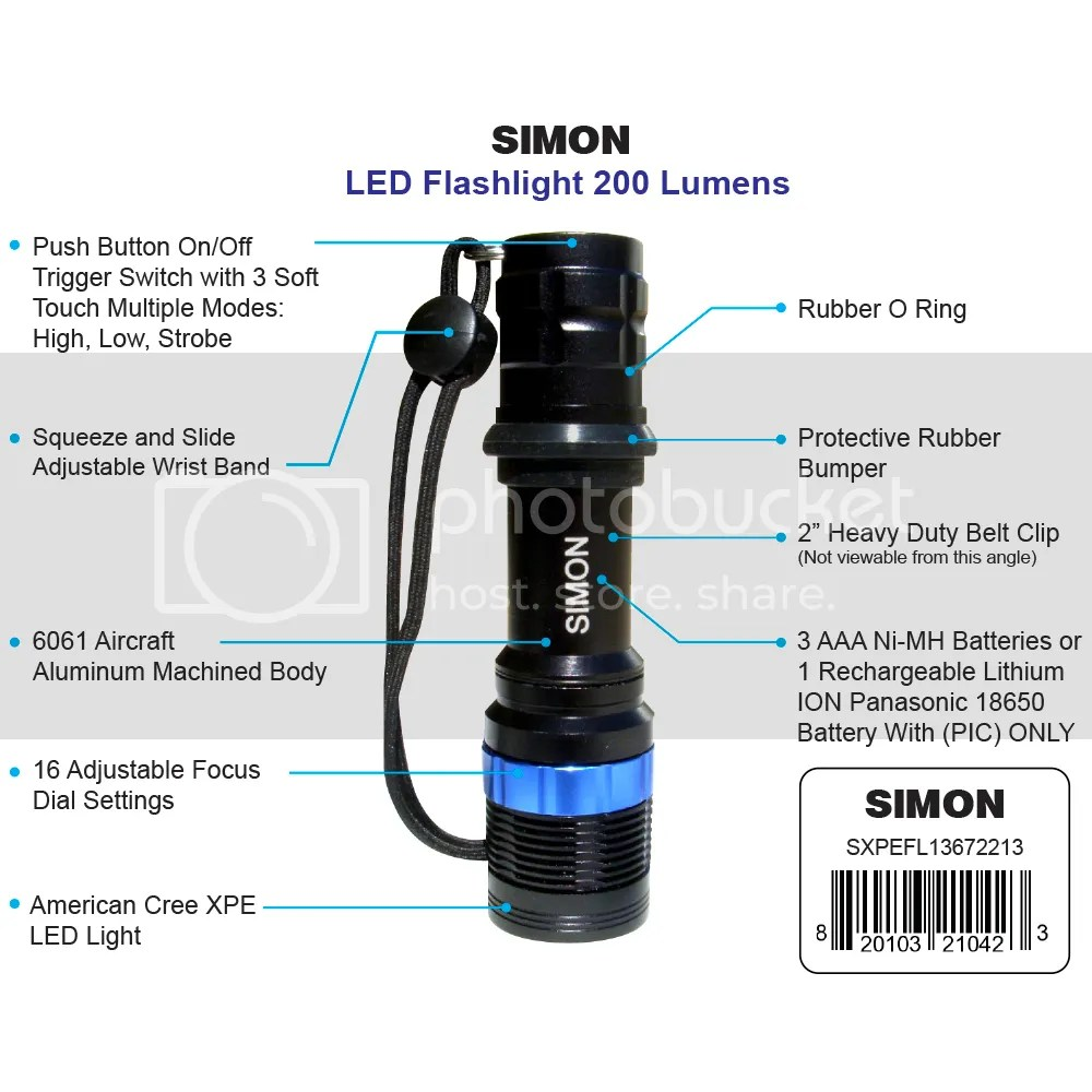Simon Cree XPE LED Flashlight Diagram