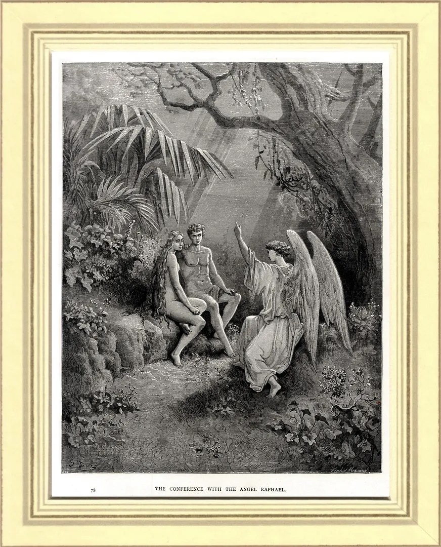 Adamo ed Eva ascoltano l'Arcangelo Raffaele