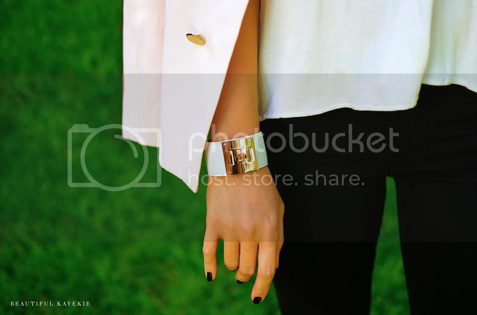 gold black white leather cuff