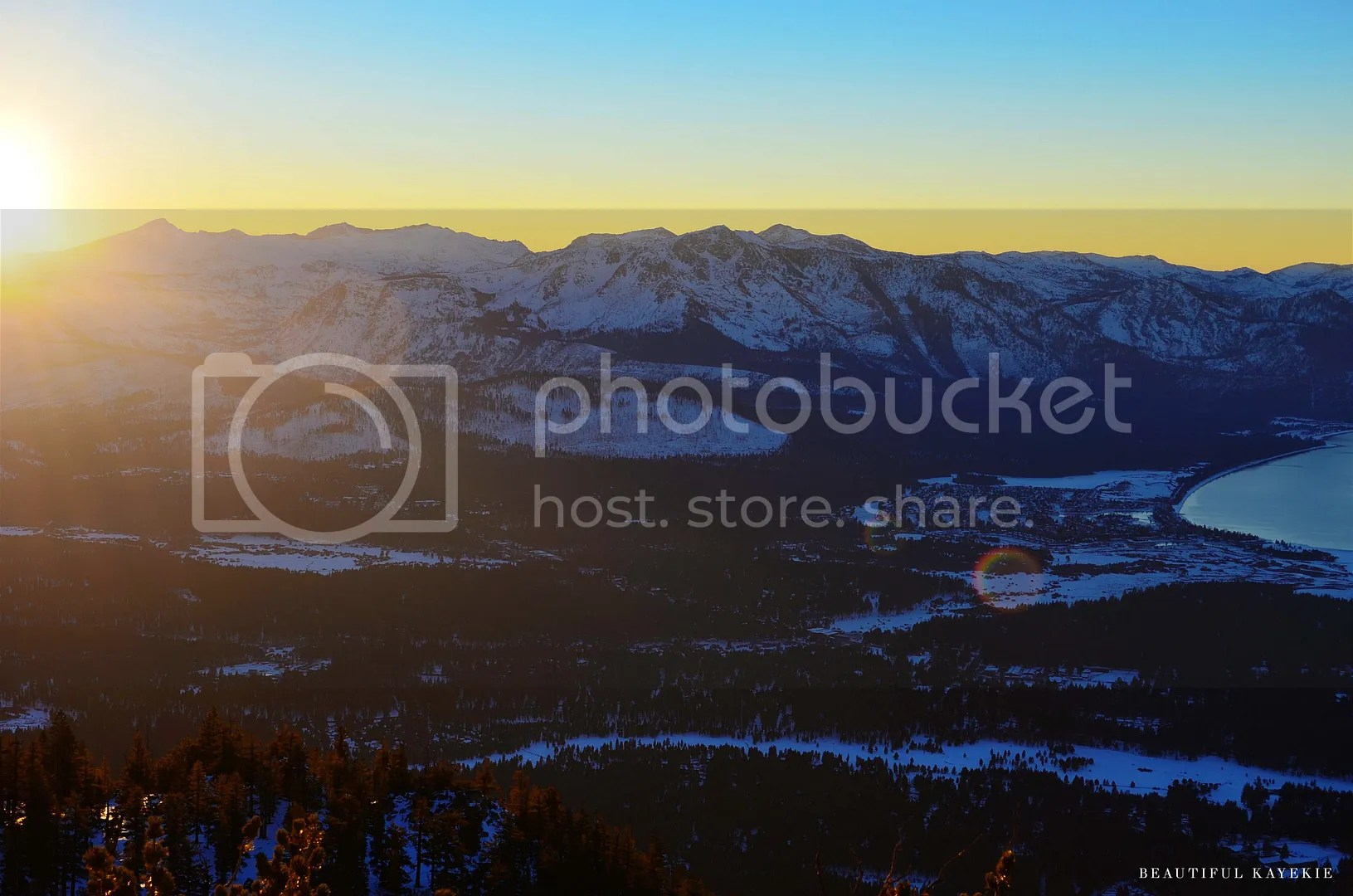 LAKE TAHOE HEAVENLY MOUNTAIN LOOKOUT SUNSET
