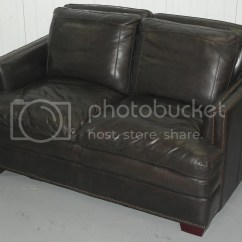 Brown Leather Studded Sofa Corner Next Contemporary Double Cushion Extra Comfortable