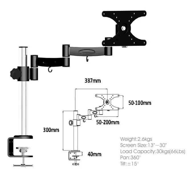 Screen Monitor PC LCD TV Desk Mount Swivel Stand Clamp