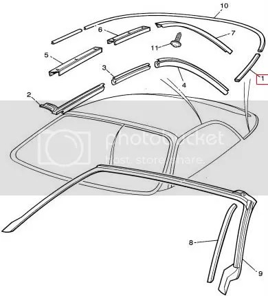 Jaguar X100 XK8 XKR Convertible rear roof hood frame to