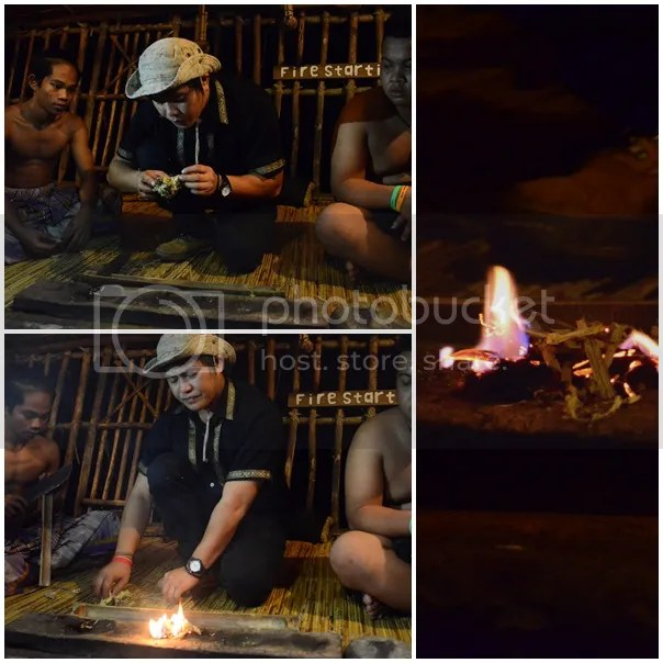 making fire from bamboo